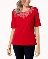Karen Scott Embroidered T-Shirt, Created for Macy's