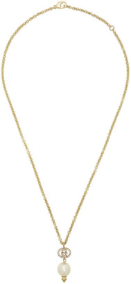 Gucci Gold Interlocking G Pearl Necklace