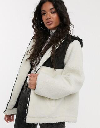 Asos Design DESIGN fleece jacket with contrast animal in cream