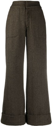Johanna Ortiz Herringbone Wide Trousers