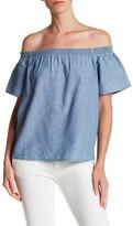 Joie Amesti B Off-the-Shoulder Linen Blend Shirt