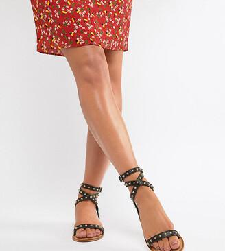 Asos DESIGN Wide Fit Fion studded flat sandals