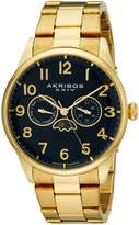 Akribos XXIV Men's AK790YGBU Analog Display Swiss Quartz Gold Watch