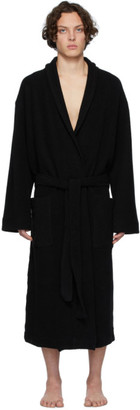 Dries Van Noten Black Reversed French Terry Robe