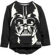 H&M Long-sleeved Printed T-shirt - Black/Star Wars - Kids