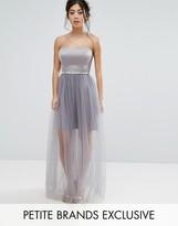 True Decadence Petite Cami Dress With Sheer Dotty Mesh Skirt
