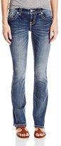 Miss Me Women's Fleur De Lis Mid Rise Boot Cut Denim Jean