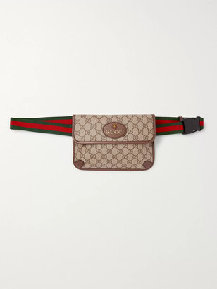 Gucci Ophedia Leather-Trimmed Monogrammed Coated-Canvas Belt Bag