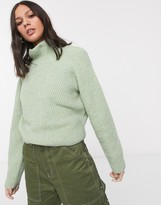 Weekday Raquel roll neck ribbed jumper in light green melange