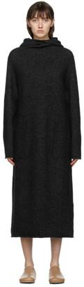 LAUREN MANOOGIAN SSENSE Exclusive Black Alpaca Hooded Dress