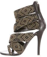 Balmain Beaded Crossover Sandals