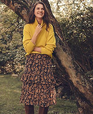 Ann Taylor Tall Floral Flounce Midi Skirt