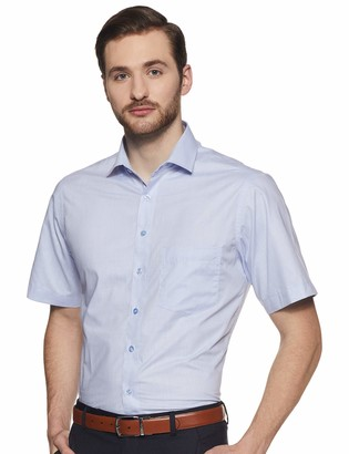 Shaftesbury London Men's Slim Fit Short Sleeves Spread Collar Dress Shirt 15 Blue