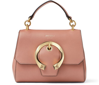 Jimmy Choo MADELINE TOP HANDLE/S Blush Calf Leather Top Handle Bag with Metal Buckle
