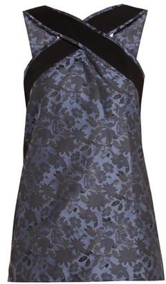 Erdem Orla Grosgrain-trimmed Floral-jacquard Top - Dark Blue