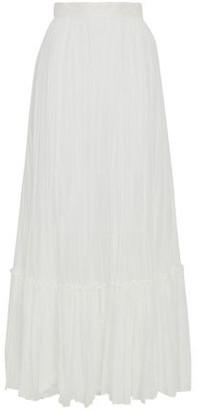 Valentino Pleated Cotton-gauze Maxi Skirt