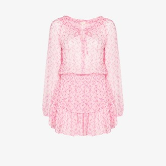LoveShackFancy Popover floral print flared dress