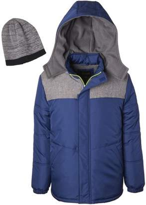 iXtreme Toddler Boy Grey Panel Winter Jacket Coat with Free Gift Hat, 2pc Set