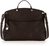 Furla Piper Ostrich-Embossed Large Satchel, Coffee