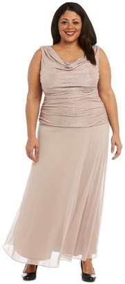 R & M Richards R&M Richards Maxi Gown with Draped Cowl Neck and Drop Waist