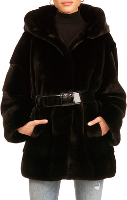 Maurizio Braschi Mink Fur Jacket With Hood & Belt