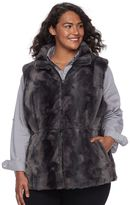 Gallery Plus Size Reversible Faux-Fur Vest