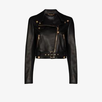 Versace Cropped Leather Biker Jacket