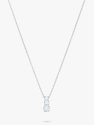 Swarovski Attract Triple Crystal Pendant Necklace, Silver/Clear