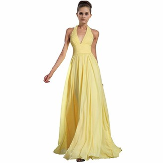 Iwemek Women's Bridesmaids Formal Chiffon Wedding Prom Dress Sleeveless V-Neck Halter Long Dress Girls Cocktail Evening Party Gowns A-line Swing Maxi Dress Yellow UK 12
