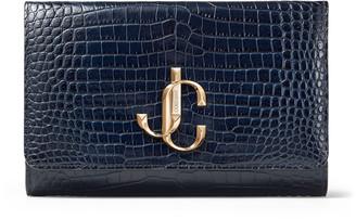 Jimmy Choo VARENNE CLUTCH Navy Croc Embossed Leather Clutch Bag with JC logo