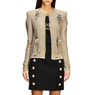 Balmain Lurex Cardigan With Jewel Buttons