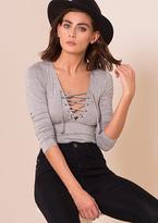 Missy Empire Sara Grey Lace Up Bodysuit