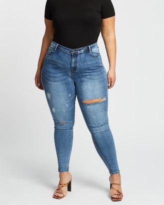 Missguided Curve Sinner High-Waist Rip Skinny Jeans