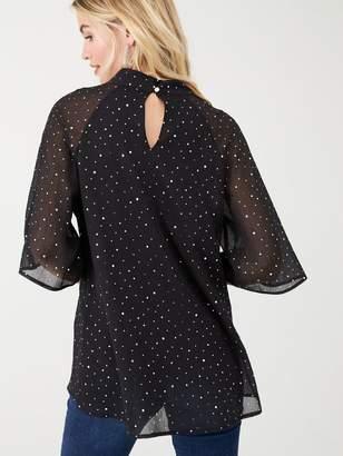 Wallis Chiffon Sequin Angel Sleeve Top - Black