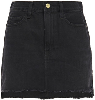 Frame Le Mini Frayed Denim Mini Skirt