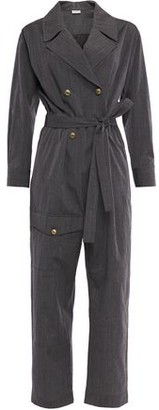 Brunello Cucinelli Double-breasted Belted Pinstriped Wool Jumpsuit