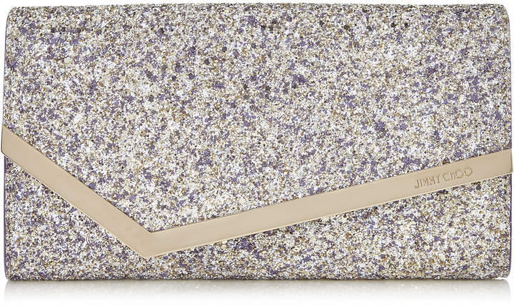 Jimmy Choo EMMIE Platinum Mix Painted Coarse Glitter Fabric Clutch Bag