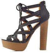 Charlotte Russe Qupid Lace-Up Textured Platform Sandals