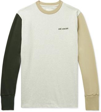 Aimé Leon Dore Logo-Embroidered Colour-Block Melange Cotton-Jersey T-Shirt