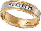 Macy's Men's Diamond Two-Tone Band (1/4 ct. t.w.) in 10k Gold and White Gold or Rose Gold and White Gold