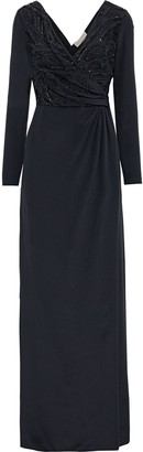 Emilio Pucci Wrap-effect Embellished Silk Crepe De Chine Gown
