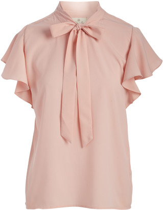Très Jolie Women's Blouses Blush - Blush Tie-Neck Flutter-Sleeve Top - Women