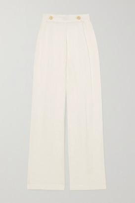 Le Kasha + Net Sustain X Lg Electronics Pleated Organic Linen-gauze Wide-leg Pants - Off-white