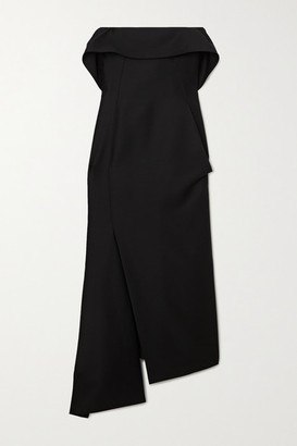 Lanvin Strapless Wool And Silk-blend Midi Dress - Black