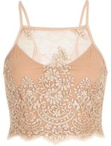 River Island Womens Nude pink embroidered lattice back crop top