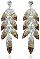 Ever Faith Leaf Dangle Earrings with Topaz Color Austrians Crystal A13817-7