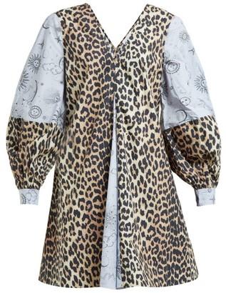 Ganni Leopard And Moon-print Cotton Mini Dress - Womens - Blue Multi