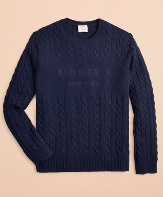 Brooks Brothers Wool-Blend Cable Logo Sweater