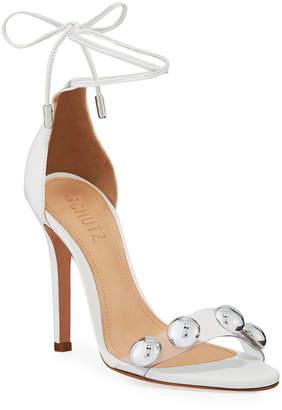 Schutz Ramon Studded Vinyl Ankle-Tie Sandals