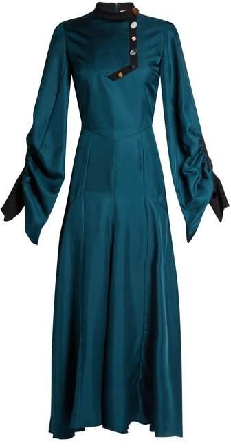 Roksanda Omari High Neck Ruched Sleeve Silk Twill Dress - Womens - Teal